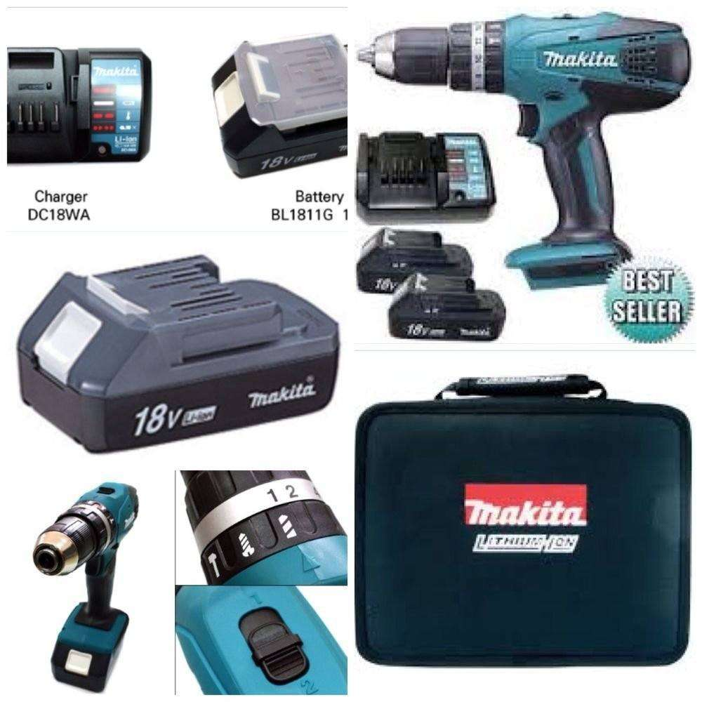 18v MAKITA CORDLESS COMBI DRILL,COMPLETE LITHIUM KIT WITH 3 YEARS MAKITA WARRANTY,X2 LI-ION BATTERIES,FAST CHARGER,HEAVY DUTY CARRYING CASE,MEGA DEAL EXCLUSIVE TO HOLLYWELL TOOLS