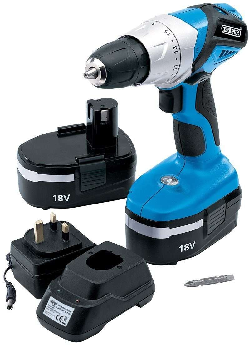 Draper 20496 18V Cordless Rotary Drill with Two Ni-CD Batteries