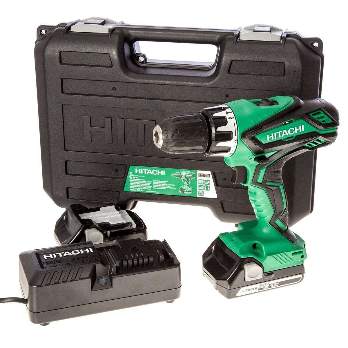 Hitachi DV18DGL-JF 18V Li-ion Cordless Combi Drill with 2 x 2.5Ah Batteries