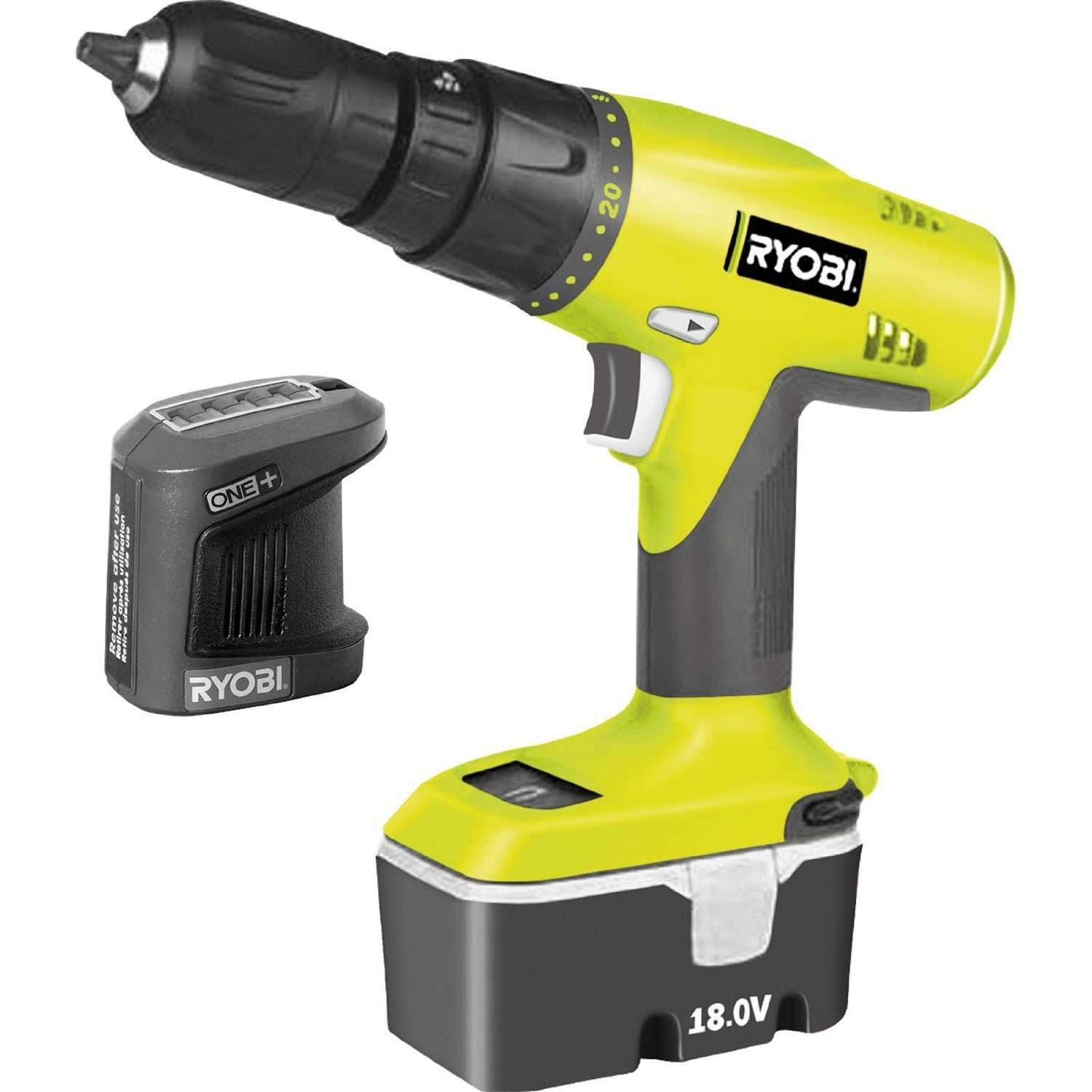 Ryobi CHI1802P ONE+ 18v Cordless 2 Speed Combi Drill with 1 NiCAD Battery 1.3ah