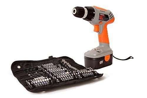 Terratek TPDC18134K 18V Cordless Drill, Electric Screwdriver, Combi Drill Driver, 120pc Rechargeable Drill Set