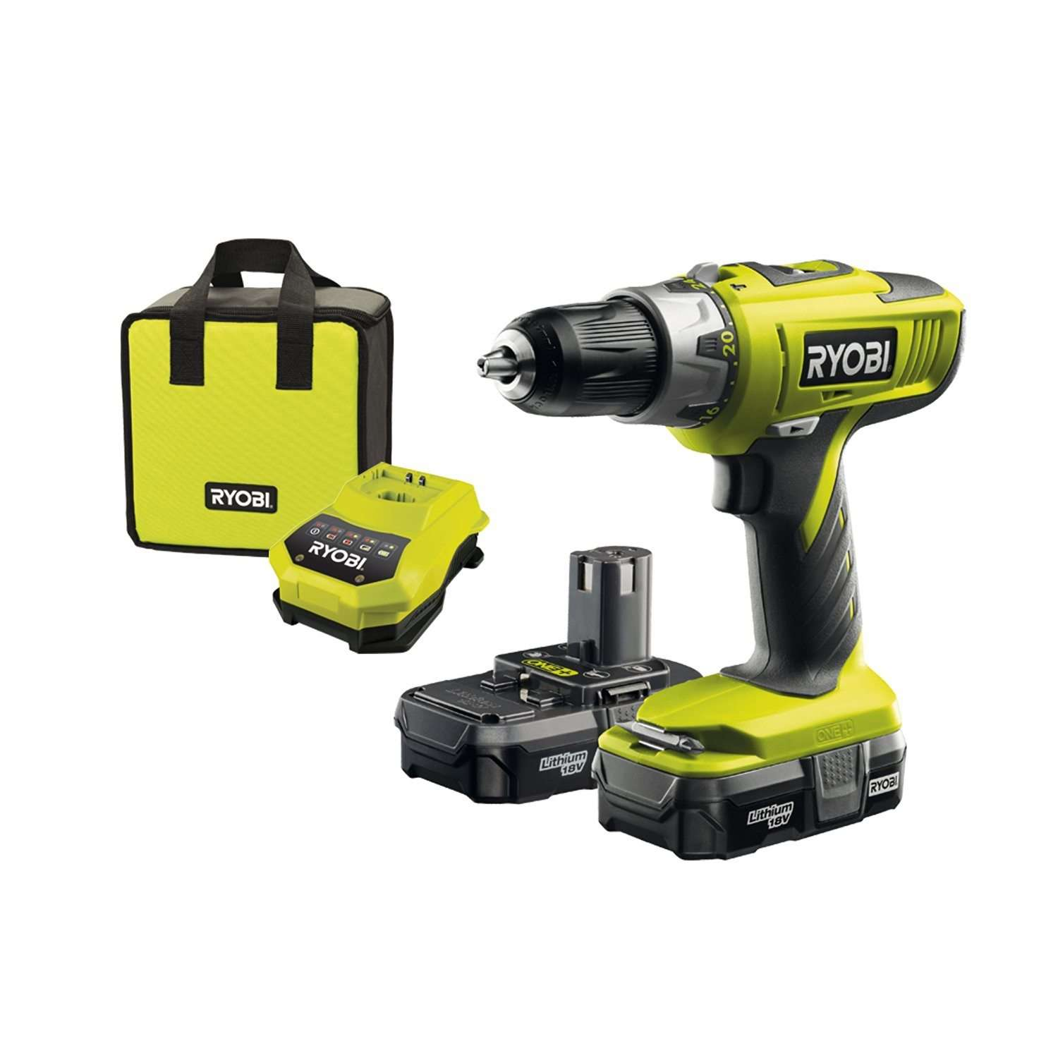 ryobi-one-cordless-combi-drill-with-2-x-1-3a-batteries-and-45-minute-charger
